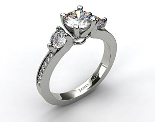 14k White Gold Milgrain Round and Pave Tapered Engagement Ring
